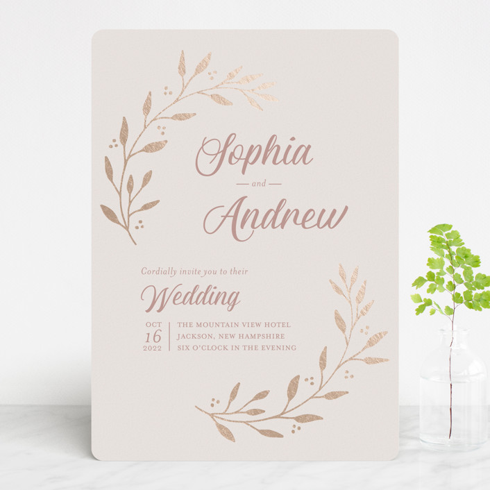 """""""Vineyard"""" - Foil-pressed Wedding Invitations in Blush by Tennie and Co.."""