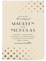 This is a pink foil stamped wedding invitation by Cat Caudillo called Maureen with foil-pressed printing on signature in standard.