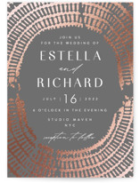 This is a grey foil stamped wedding invitation by AK Graphics called Prism with foil-pressed printing on signature in standard.