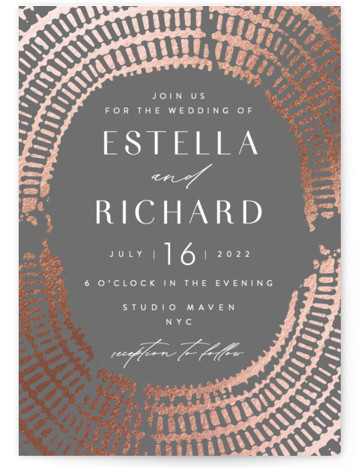 This is a grey Wedding Invitations by AK Graphics called Prism with Foil Pressed printing on Signature in Classic Flat Card format. A beautiful and modern wedding invitation featuring an original, hand illustrated frame in pressed iridescent gloss.