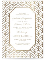 This is a brown foil stamped wedding invitation by Emily Skinner called Art Deco with foil-pressed printing on signature in standard.