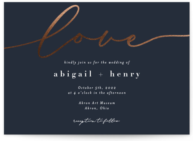 "This is a blue Wedding Invitations by Emily Betts called Sweet Love with Foil Pressed printing on Signature in Classic Flat Card format. This wedding invitation features the word ""love"" in iridescent foil giving it a fun, playful feel."