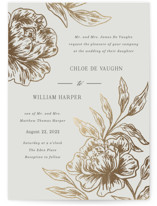 This is a grey foil stamped wedding invitation by Elly called Loving with foil-pressed printing on signature in standard.