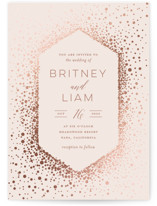 This is a pink foil stamped wedding invitation by Nicole Barreto called Simply Sparkling with foil-pressed printing on signature in standard.