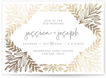 This is a brown foil stamped wedding invitation by Mayflower Press called Opal with foil-pressed printing on signature in standard.