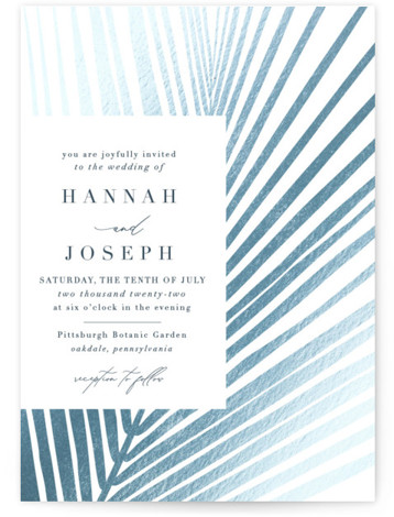 This is a blue Wedding Invitations by Robin Ott called Pristine with Foil Pressed printing on Signature in Classic Flat Card format. Asymmetrical palm leaf creates a striking pattern in pearl foil.