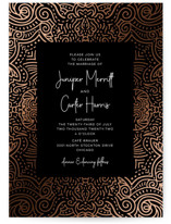 This is a black foil stamped wedding invitation by Laura Bolter Design called Tribal with foil-pressed printing on signature in standard.
