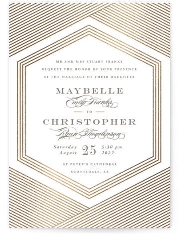 This is a grey, white Wedding Invitations by Rebecca Daublin called Connection with Foil Pressed printing on Signature in Classic Flat Card format. An intricate pattern of overlapping lines on this geometric wedding invitation