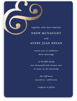 This is a blue foil stamped wedding invitation by Roxanne Fay called Classic Ampersand with foil-pressed printing on signature in standard.