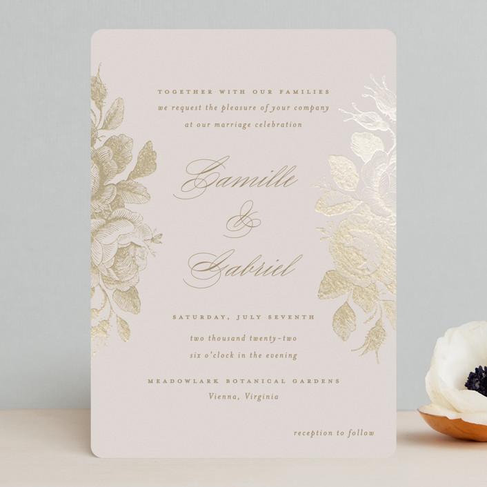 """Idyllic"" - Foil-pressed Wedding Invitations in Petal by Design Lotus."
