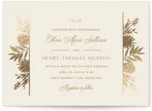 This is a brown foil stamped wedding invitation by Carolyn MacLaren called Botanical Traditions with foil-pressed printing on signature in standard.