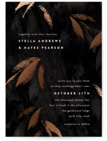 This is a black foil stamped wedding invitation by Robert and Stella called Gilded Woods with foil-pressed printing on signature in standard.