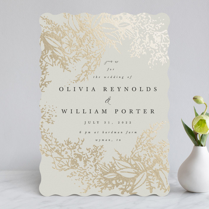 """""""Olivia"""" - Foil-pressed Wedding Invitations in Taupe by Hannah Williams."""