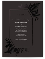 This is a black foil stamped wedding invitation by Joyce Pinheiro called Garden with foil-pressed printing on signature in standard.