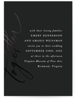 This is a black and white foil stamped wedding invitation by carly reed walker called Ensemble with foil-pressed printing on signature in standard.
