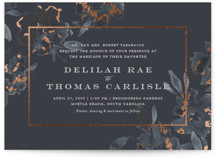 This is a blue foil stamped wedding invitation by Meagan Christensen called Carolina with foil-pressed printing on signature in standard.