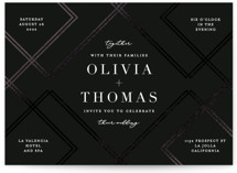 This is a black foil stamped wedding invitation by Erica Krystek called zigzag with foil-pressed printing on signature in standard.