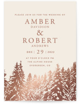 This is a pink foil stamped wedding invitation by Stephanie Biller called Snowy Pines with foil-pressed printing on signature in standard.