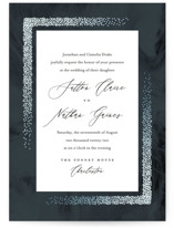 This is a blue foil stamped wedding invitation by Jessica Williams called The Night Sky with foil-pressed printing on signature in standard.