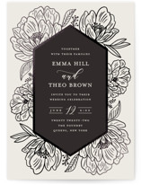 This is a black foil stamped wedding invitation by Nicole Barreto called Posh Peonies with foil-pressed printing on signature in standard.