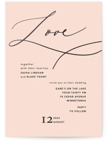 This is a pink foil stamped wedding invitation by Susan Brown called Love Affair with foil-pressed printing on signature in standard.