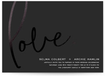 This is a grey foil stamped wedding invitation by shoshin studio called love. with foil-pressed printing on signature in standard.