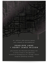 This is a black foil stamped wedding invitation by Erin Deegan called Chicago with foil-pressed printing on signature in standard.