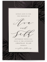 This is a black foil stamped wedding invitation by Melinda Denison called Forevermore with foil-pressed printing on signature in standard.
