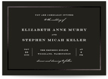 This is a black foil stamped wedding invitation by Brandy Folse called Debonair with foil-pressed printing on signature in standard.