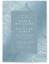 This is a blue foil stamped wedding invitation by Angela Garrick called romantic waves with foil-pressed printing on signature in standard.