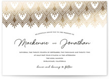 This is a white foil stamped wedding invitation by Stardust Design Studio called Bohemia with foil-pressed printing on signature in standard.