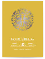 This is a yellow foil stamped wedding invitation by Guess What Design Studio called Double Happiness Seal with foil-pressed printing on signature in standard.