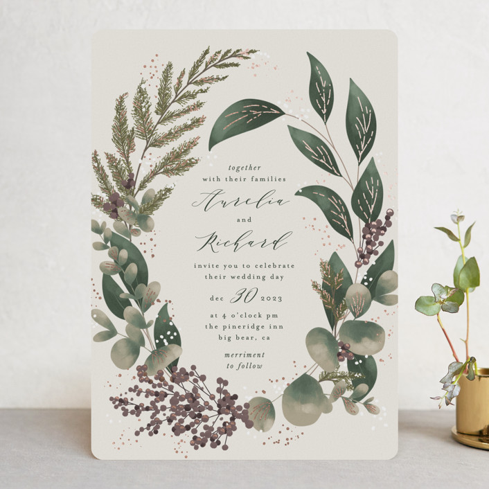 """""""Evergreen"""" - Foil-pressed Wedding Invitations in Shamrock by Leah Bisch."""