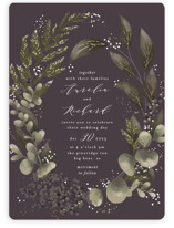This is a purple foil stamped wedding invitation by Leah Bisch called Evergreen with foil-pressed printing on signature in standard.