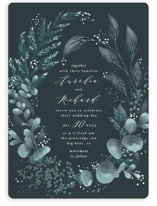 This is a blue foil stamped wedding invitation by Leah Bisch called Evergreen with foil-pressed printing on signature in standard.