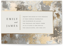 This is a grey foil stamped wedding invitation by Katherine Moynagh called Modern Glitz with foil-pressed printing on signature in standard.