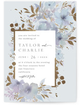 This is a blue foil stamped wedding invitation by Four Wet Feet Studio called Frosted Blossoms with foil-pressed printing on signature in standard.