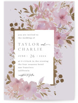 This is a purple foil stamped wedding invitation by Four Wet Feet Studio called Frosted Blossoms with foil-pressed printing on signature in standard.