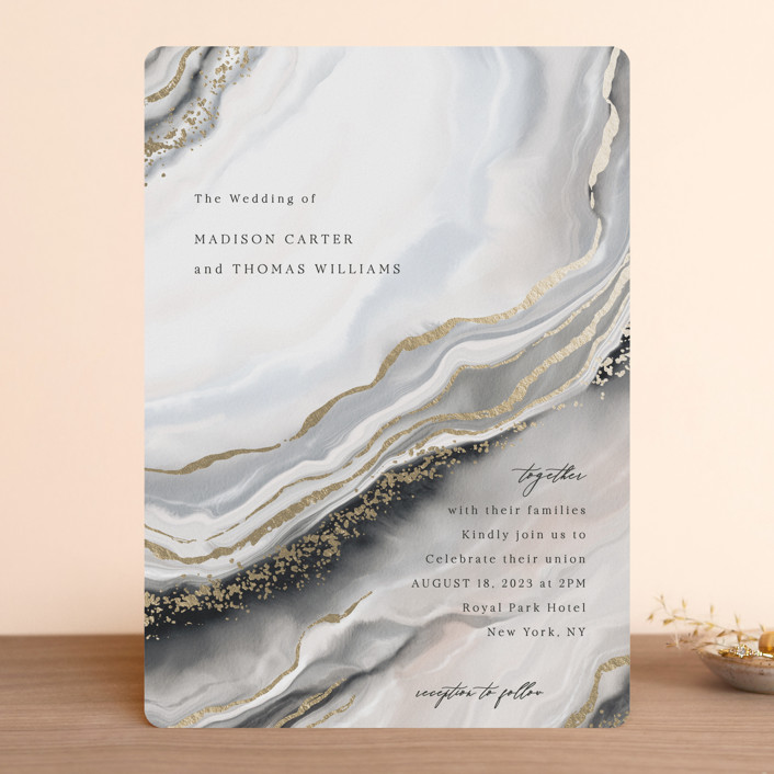 """""""Luxe"""" - Modern Foil-pressed Wedding Invitations in Onyx by Elly."""