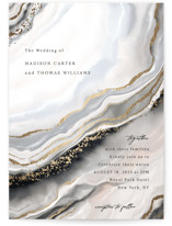 This is a black foil stamped wedding invitation by Elly called Luxe with foil-pressed printing on signature in standard.
