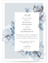 This is a blue foil stamped wedding invitation by Petra Kern called Vitrage with foil-pressed printing on signature in standard.