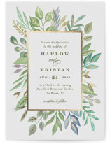 This is a green foil stamped wedding invitation by Jana Volfova called Botanical Frame with foil-pressed printing on signature in standard.