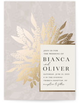 This is a beige foil stamped wedding invitation by Iveta Angelova called Winter Bouquet with foil-pressed printing on signature in standard.