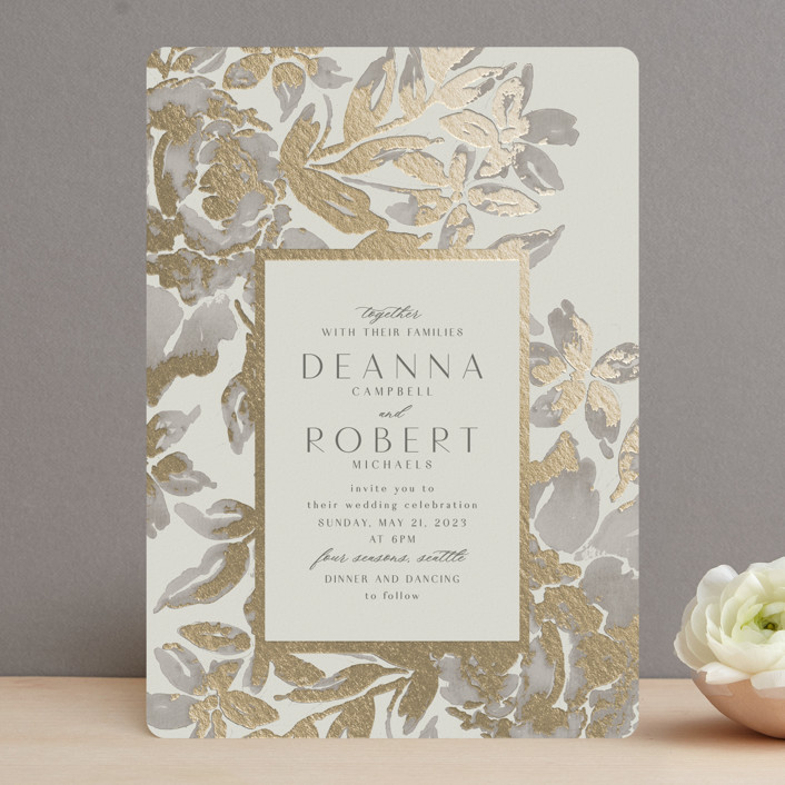 """""""Wedding Royale"""" - Foil-pressed Wedding Invitations in Ivory by Chris Griffith."""