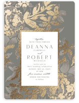This is a grey foil stamped wedding invitation by Chris Griffith called Wedding Royale with foil-pressed printing on signature in standard.