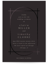 This is a black foil stamped wedding invitation by Nazia Hyder called Minimalist Deco with foil-pressed printing on signature in standard.