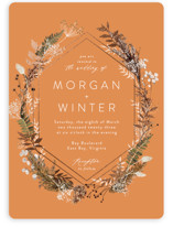 This is a orange foil stamped wedding invitation by Cass Loh called dried foliage with foil-pressed printing on signature in standard.