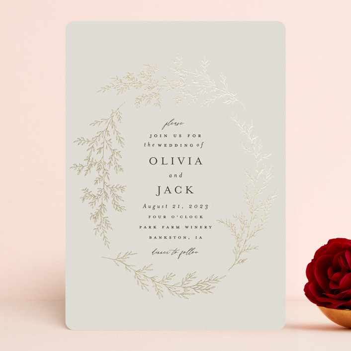 """""""entwined branches"""" - Foil-pressed Wedding Invitations in Cream by Carolyn Nicks."""