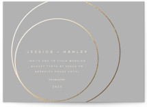 This is a grey foil stamped wedding invitation by Lori Wemple called lili with foil-pressed printing on signature in standard.