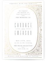 This is a white foil stamped wedding invitation by Ana de Sousa called Deco Starbust with foil-pressed printing on signature in standard.